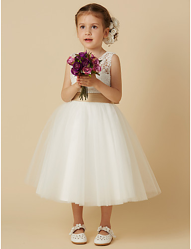 bddfd87f99d3 Princess Knee Length Flower Girl Dress - Lace / Tulle Sleeveless Jewel Neck  with Bow(s) / Sash / Ribbon by LAN TING BRIDE®