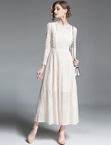 voordelige Maxi-jurken-Dames Uitgaan Street chic / Verfijnd A-lijn / Wijd uitlopend Jurk - Effen, Kant Strakke ronde hals Maxi Hoge taille / Hoge taille