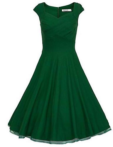 Damskie Impreza Vintage Bawełna Szczupła Linia A / Pochwa Sukienka - Solidne kolory, Z marszczeniami Wysoka talia Nad kolano