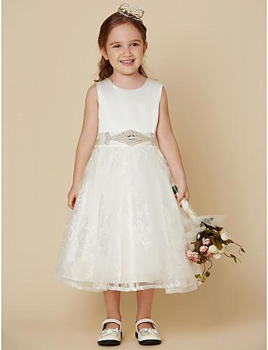Πριγκίπισσα Μέχρι το γόνατο Φόρεμα για Κοριτσάκι Λουλουδιών - Δαντέλα Σατέν Αμάνικο Scoop Neck με Φιόγκος(οι) Ζώνη / Κορδέλα με LAN TING