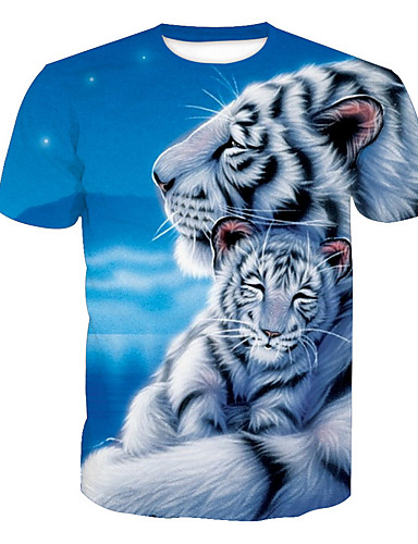 voordelige Heren T-shirts & tanktops-Heren Actief Print T-shirt dier Ronde hals Tijger blauw / Korte mouw / Zomer