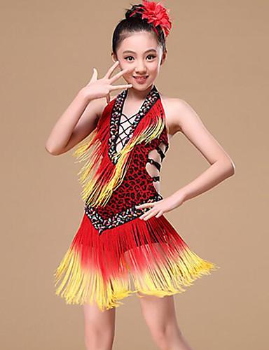 892697ea82f9 Λάτιν Χοροί Φορέματα Κοριτσίστικα Εκπαίδευση   Επίδοση Πολυεστέρας Φούντα    Εφαρμοστό Αμάνικο Φυσικό Φόρεμα