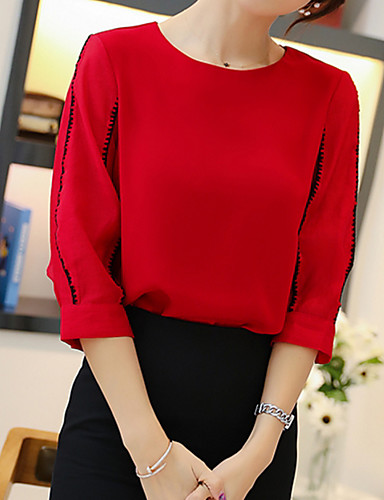 bluzka damska - jednolity kolorowy / kolorowy okrągły dekolt