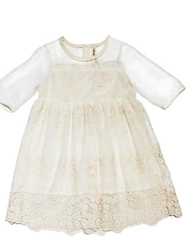 Dzieci Dla dziewczynek Jendolity kolor Krótki rękaw Sukienka