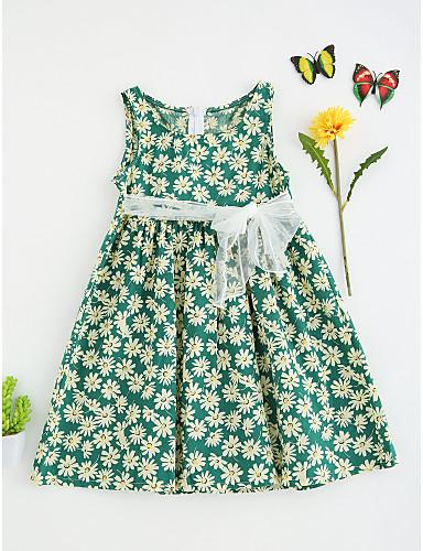 여자의 드레스 플로럴, 여름 폴리에스테르 민소매 꽃 레드 그린
