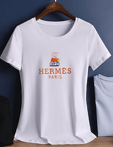 T-shirt Damskie Bawełna Jendolity kolor / Litera / Zwierzę