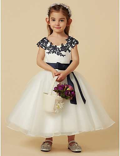 549f9d53bcf A-Line Knee Length Flower Girl Dress - Lace   Tulle Short Sleeve Scoop Neck  with Bow(s)   Buttons   Sash   Ribbon by LAN TING BRIDE®