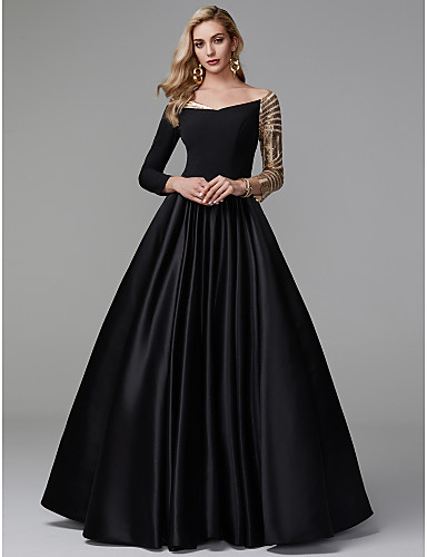 cheap Prom Dresses-Ball Gown Off Shoulder Floor Length Satin / Sequined Sparkle & Shine / Celebrity Style Prom / Formal Evening Dress with Sequin / Pleats by TS Couture®
