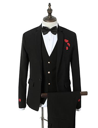 Bărbați Petrecere / Zilnic Primăvara & toamnă Regular Costume, Floral Rever Clasic Manșon Lung Poliester Brodat Negru L / XL / XXL / Ocazional afaceri / Zvelt