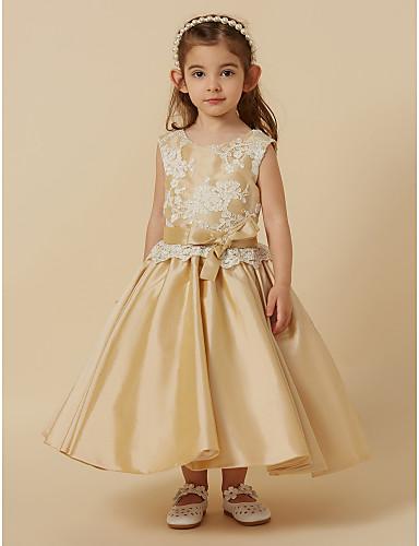 8783ff7ebe2 Princess Tea Length Flower Girl Dress - Lace   Taffeta Sleeveless Jewel Neck  with Bow(s)   Sash   Ribbon by LAN TING BRIDE®  04522250