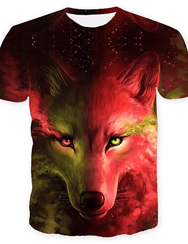 billige T-shirts og undertrøjer til herrer-Rund hals Herre - Dyr Basale Plusstørrelser T-shirt Ulv Rød XL / Kortærmet / Sommer