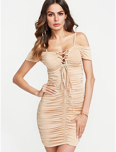 ec1a794114c7 Women's Off Shoulder Party Club Sexy Mini Skinny Bodycon Dress - Solid  Colored Ruched Lace up Off Shoulder Summer Wine Khaki Royal Blue M L XL