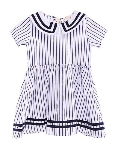 Dzieci Dla dziewczynek Niebiesko-biały Prążki Krótki rękaw Sukienka