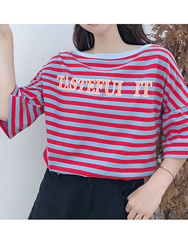 tricou pentru femei - gât rotund dungat