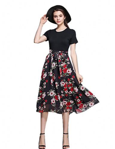 Pentru femei Concediu / Ieșire Șic Stradă Zvelt Linie A Rochie Floral Talie Înaltă Lungime Genunchi / Vară