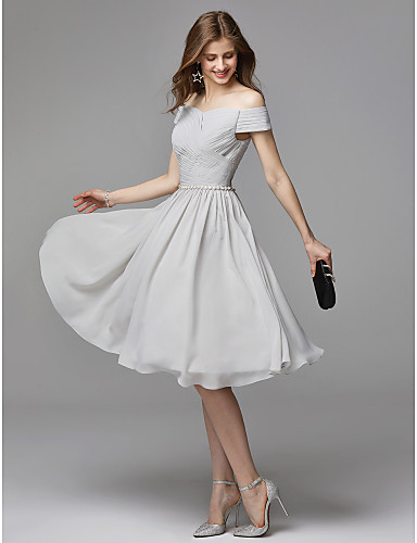 0d11fb475de7cf A-Line V Wire Knee Length Chiffon Beautiful Back Cocktail Party Dress with  Beading /