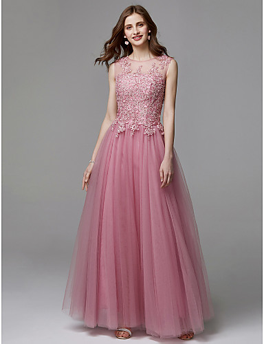 abordables robe invitée mariage-Trapèze Illusion Neck Longueur Sol Tulle / Dentelle Perlée Robe avec Appliques par TS Couture®