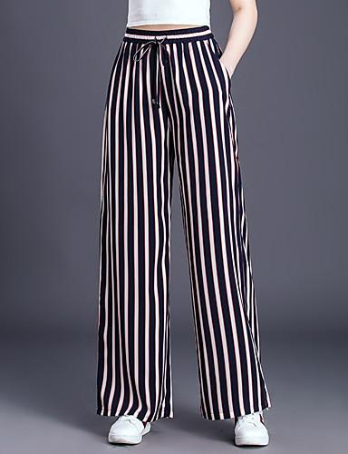 abordables Pantalons Femme-Femme Basique Grandes Tailles Quotidien Ample Ample Pantalon - Bloc de Couleur Noir & Blanc Noir XXL XXXL XXXXL