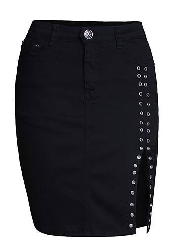 abordables Jupes-Femme Basique Quotidien Coton Crochet Jupes - Couleur Pleine Fendu Taille haute Fendue Noir L XL XXL