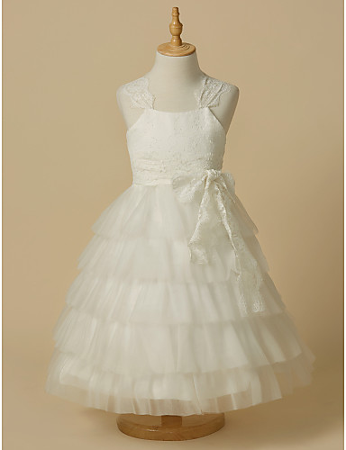 Ball Gown Ankle Length Flower Girl Dress - Lace / Tulle Sleeveless Straps with Bow(s) by LAN TING Express
