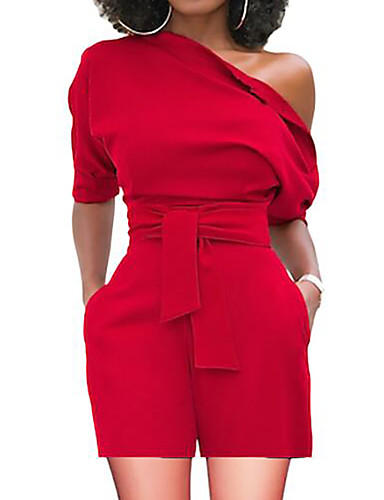 cheap Women's Jumpsuits & Rompers-Women's Basic One Shoulder Red Yellow Wine Wide Leg Romper, Solid Colored L XL XXL High Waist Short Sleeve Summer
