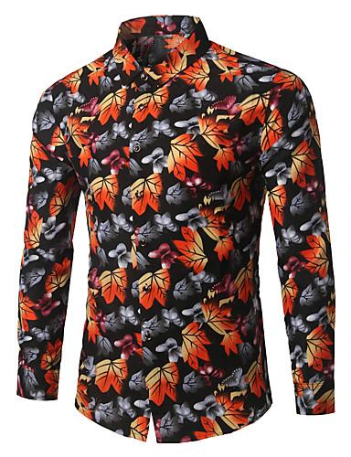 abordables Camisas de Hombre-Hombre Negocios Trabajo Tallas Grandes Algodón Camisa Floral Naranja XXXXL / Manga Larga
