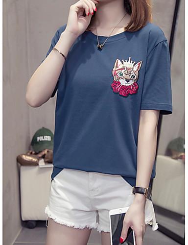 Rozmiar plus T-shirt Damskie Bawełna Jendolity kolor / Zwierzę