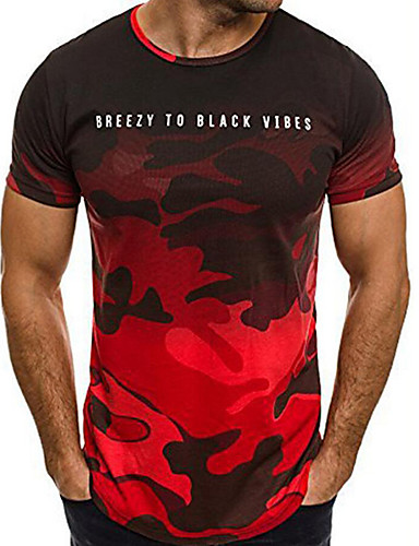 4e86d4fc4e88 Ανδρικά T-shirt Αθλητικά Βασικό   Στρατιωτικό - Βαμβάκι καμουφλάζ Στρογγυλή  Λαιμόκοψη Στάμπα Ρουμπίνι XL   Κοντομάνικο