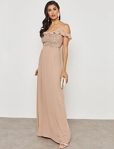 Damskie Wyrafinowany styl / Moda miejska Pochwa / Sukienka swingowa Sukienka - Jendolity kolor, Bez pleców / Cekiny Maxi
