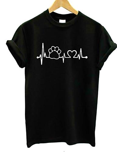 billige Dametopper-Bomull Crew-hals T-skjorte Dame - Grafisk, Trykt mønster Grunnleggende Ferie Hvit L / Sommer