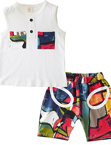 Dzieci Dla chłopców Wielokolorowa / Patchwork Bez rękawów Komplet odzieży