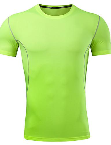 hesapli Erkek Tişörtleri ve Atletleri-Erkek Pamuklu Yuvarlak Yaka İnce - Tişört Solid Temel Spor Büyük Bedenler Beyaz / Kısa Kollu / Yaz