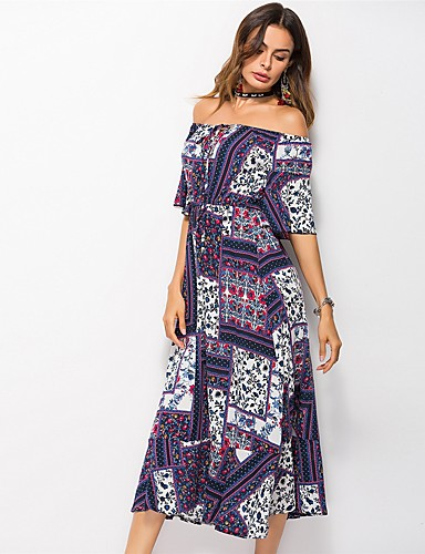 c1ac706e4d1 Women's Off Shoulder Holiday Beach Simple Boho Maxi Loose Chiffon Dress -  Floral Geometric Off Shoulder