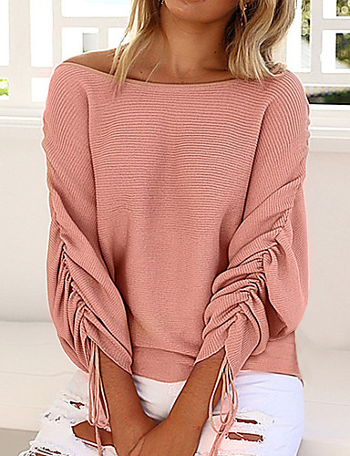 Women's Vintage Street chic Long Sleeves Batwing Sleeve Wool Loose Pullover - Solid Colored Off Shoulder