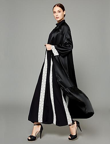 abordables Robes Femme-Femme Professionnel / Travail Chic de Rue / Sophistiqué Automne hiver Longue Abaya, Couleur Pleine Col en V Manches Longues Polyester Noir XL / XXL / XXXL