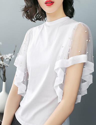 abordables Hauts pour Femme-Tee-shirt Femme, Couleur Pleine - Coton Plage Business / Basique Mince