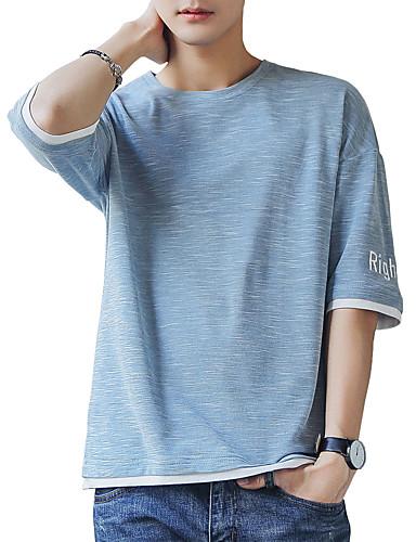 T-shirt Męskie Podstawowy / Moda miejska Bawełna Okrągły dekolt Solidne kolory