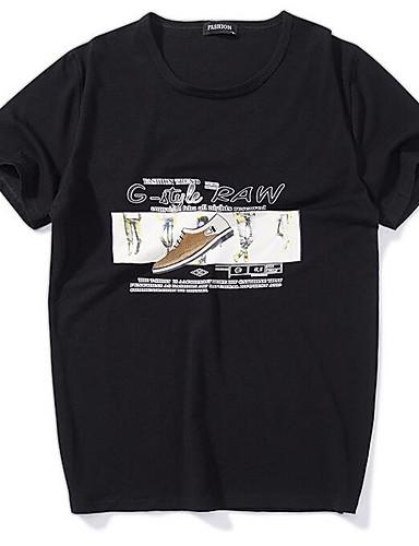 voordelige Heren T-shirts & tanktops-Heren Standaard Print T-shirt Geometrisch Ronde hals Zwart / Korte mouw