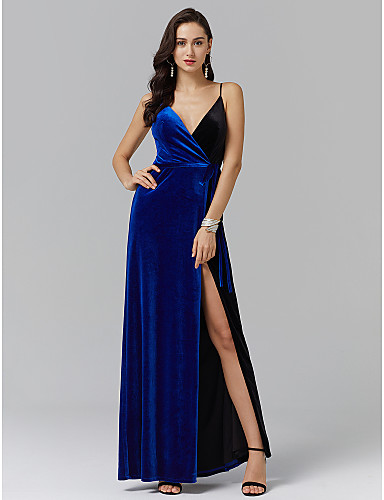 A-Line Spaghetti Strap Ankle Length Spandex Prom / Formal Evening Dress with Sash / Ribbon / Side Draping / Split Front by TS Couture®