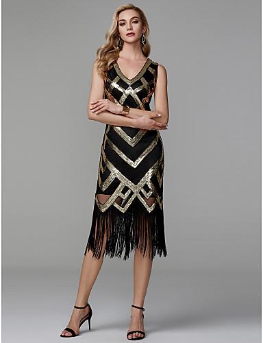 billige Kjoler til årsfest-Tube / kolonne V-hals Telang Polyester Glitrende Cocktailfest Kjole med Paljett av TS Couture®