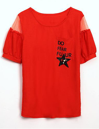 T-shirt Damskie Podstawowy, Nadruk Litera