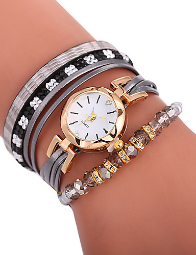 f5ef621f725 Xu™ Mulheres Bracele Relógio Relógio de Pulso envoltório relógio Quartzo  Couro PU Acolchoado Preta   Branco   Azul Criativo Relógio Casual Adorável  ...