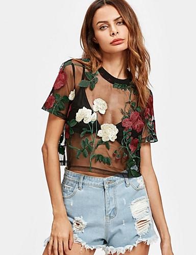 Pentru femei Tricou Ieșire Bumbac Floral