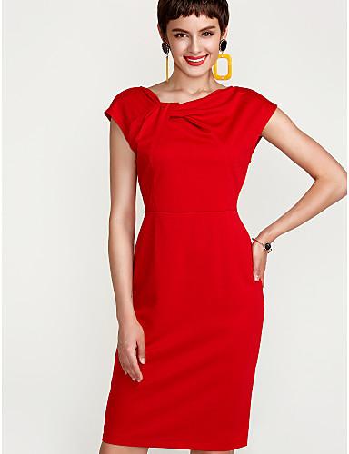 46a126ababe Γυναικεία Μεγάλα Μεγέθη Εξόδου Κομψό στυλ street Θήκη Φόρεμα - Μονόχρωμο,  Σουρωτά Ως το Γόνατο Κόκκινο / Λεπτό