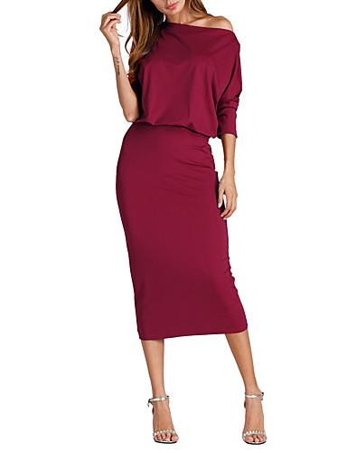 abordables Robes Femme-Femme Midi Mince Moulante Robe Taille basse Une Epaule Rouge Jaune Vin L XL XXL Manches 3/4