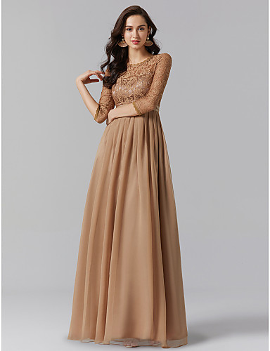 A-Line Jewel Neck Floor Length Chiffon / Lace Mother of the Bride Dress with Beading / Lace by TS Couture® / See Through