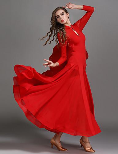 b31b0ae6b261 Ballroom Dance Dresses Women's Performance Chiffon / Tulle / Ice Silk  Draping / Split Joint High Dress