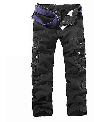 abordables Pantalones Cargo-Hombre Básico Chinos / Pantalones tipo cargo Pantalones - Un Color Gris / Deportes