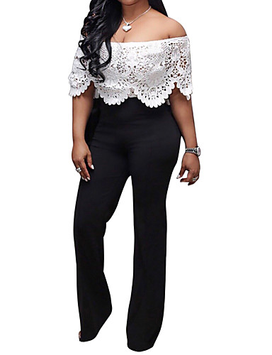 6b1a99e2ee9 Women s Off Shoulder Lace Party   Going out Street chic   Sophisticated  Boat Neck Black Wide