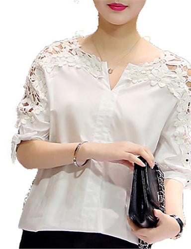 billige Topper til damer-Skjorte Dame - Ensfarget Hvit / Blonder